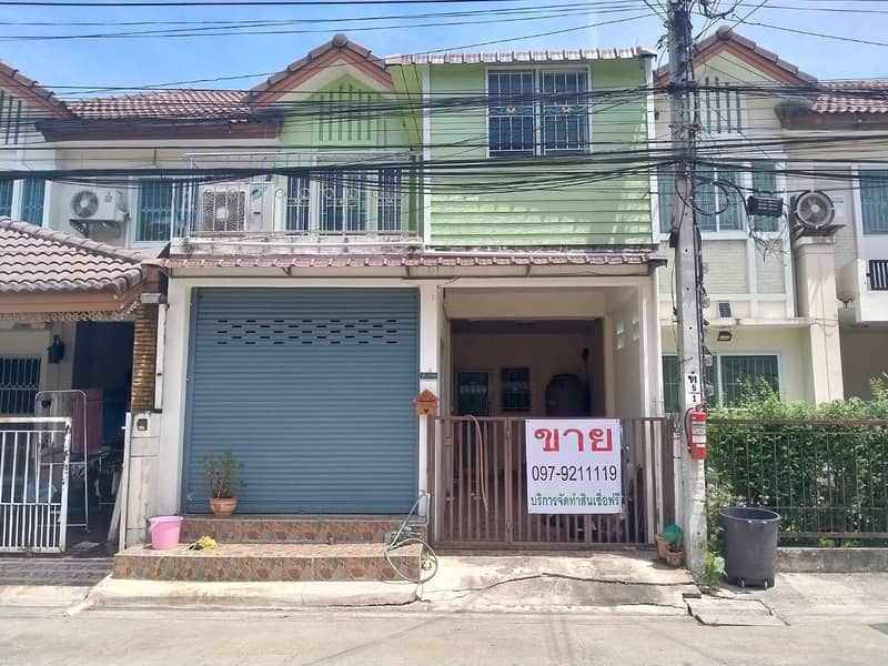 Townhouse on Rama II Road, Pruksa Ville Village, front and back, ready to move
