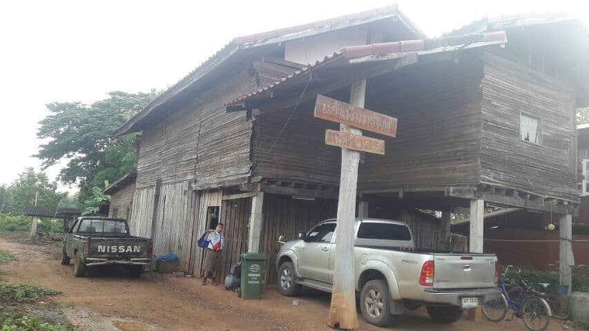 House with land for sale in the amount of 1 rai, covered with teak wood The house is not finished