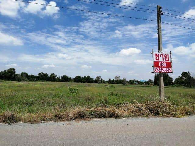 Land for sale in Bang Khla, 20 rai, next to Wat Kok Sub School, with water, light, paved road