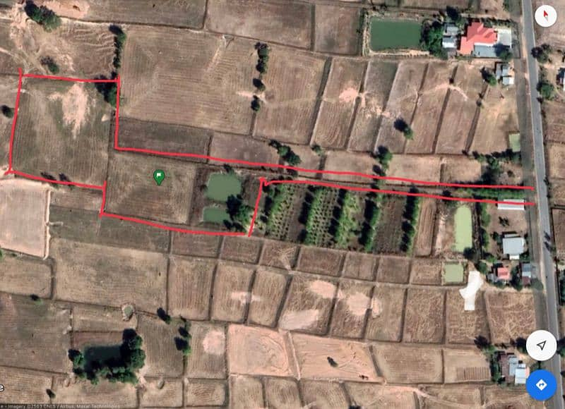 Land for sale 5.5 rai on the black road.