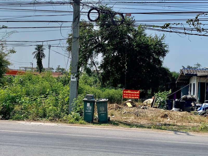 Beautiful vacant land for sale 100 sq m, next to the main road, Ton Chuak Temple Sai Noi away from Wat Lat Pla Duk road