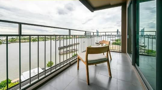 2 Bedroom Condo for Sale in Yan Nawa, Bangkok - Waterfront room for sale - U-Delight Residence Riverfront Rama3 Riverfront room, rare location, full view of Chao Phraya River, 14th floor Very wide balcony, 91 sq m.
