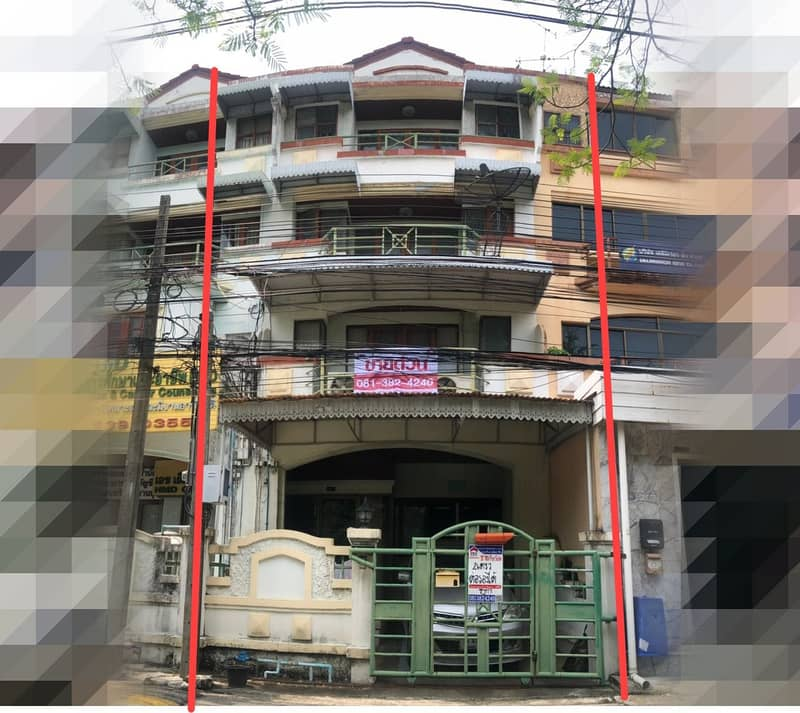 4-storey home office for sale, Baan Suan Sue Trong Village Opposite Central East Ville, very good location, ready to move in - out in many ways