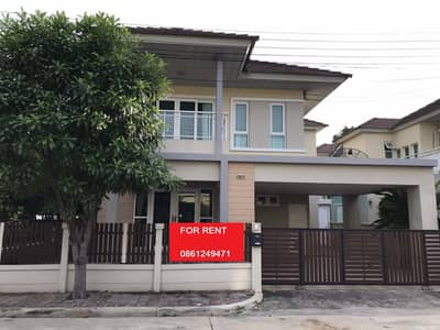 3 Bedroom Home for Rent in Mueang Pathum Thani, Pathumthani - (House For Rent) Behind the corner Seranee Casa Village Air3unit 3bed 3bath Near Rangsit U. Rate 27000 THB
