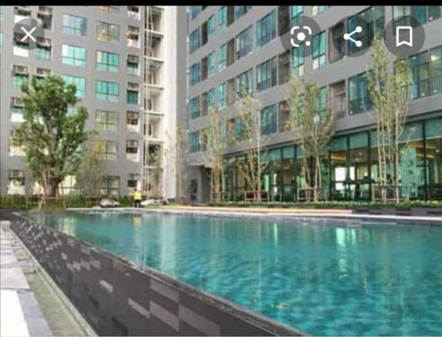 For rent, Ideo Sathorn-Thapra, 8th floor, beautiful view, panoramic view. Studio room, 22 sq m, full of public utilities, 24 hrs max. Loo, BTS Talat Phlu and Pho Nimit Praman station 200 m. Near The Mall Tha Phra.
