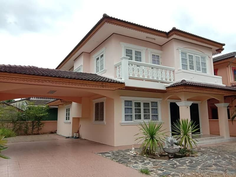 2-storey detached house for sale, 80 square wah, price 2.2 million, Jit Aree Ville 2 village, Lampang Province (in the city)