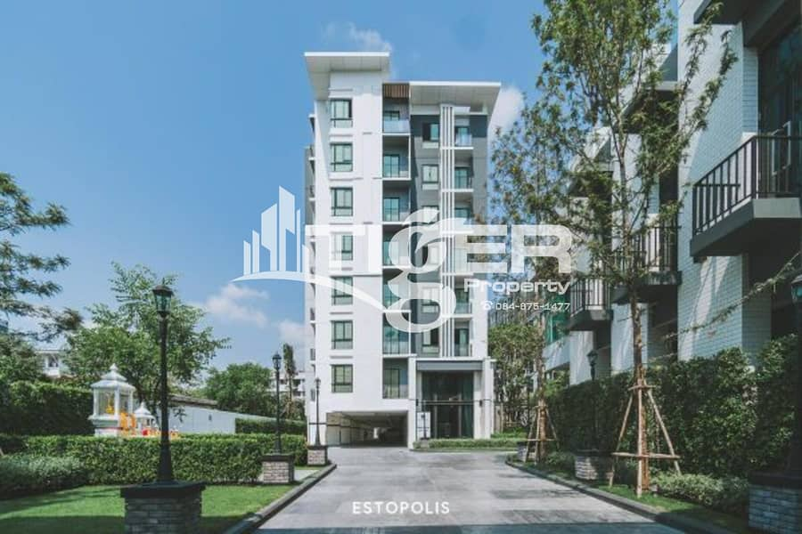 1-bedroom / 1-bathroom unit for rent at Notting Hill Sukhumvit 105, includes a balcony and 1x parking space.