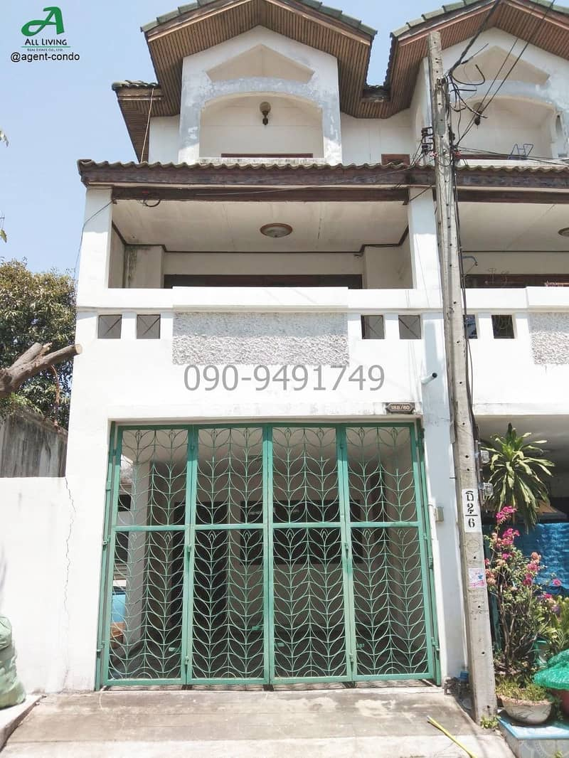 Rent a 3-storey townhouse, Cattleya Village, Soi Petchkasem 41, large house ready to move in.