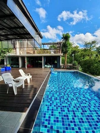 5 Bedroom Townhouse for Sale in Mueang Kanchanaburi, Kanchanaburi - House for sale, pool villa. Next to Nam Kwai, Kanchanaburi, mountain view