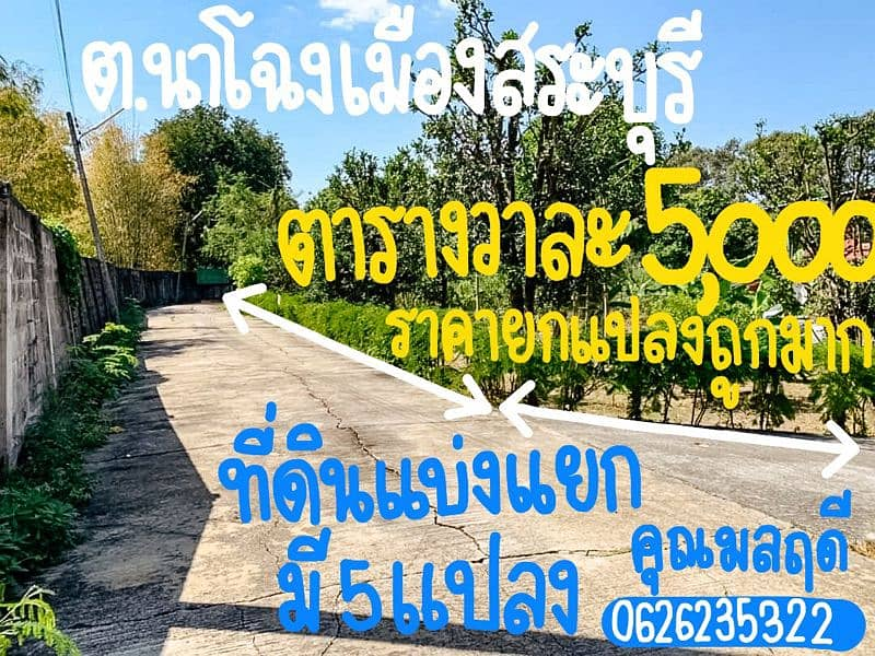 The price has been reduced to the last 2 plots, only 550,000 baht per plot from 735,000 baht at the title deed in Muang Saraburi.