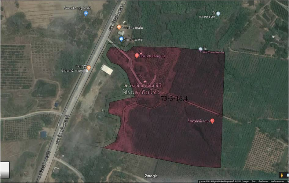 Land for sale with rubber-fruit plantations and homes on the main road 73-3-11.4 rai.