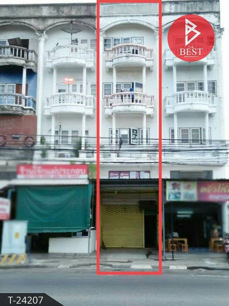 4-storey commercial building for sale, 16.0 square wah, Srisothon Road, Chachoengsao.