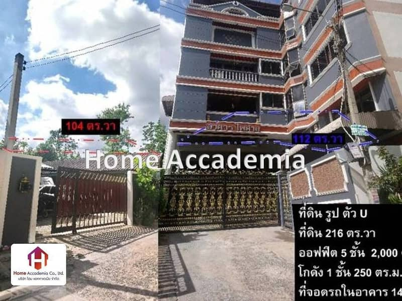 Office for sale 5 floors, 2,000 sq m, land 216 sq m with warehouse, Ratchada-Suthisan Rd.