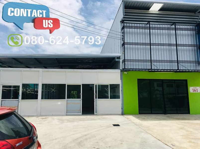 A57 Warehouse for rent 200 sq m. With office in Pattanakarn, Suan Luang District, near the motorway