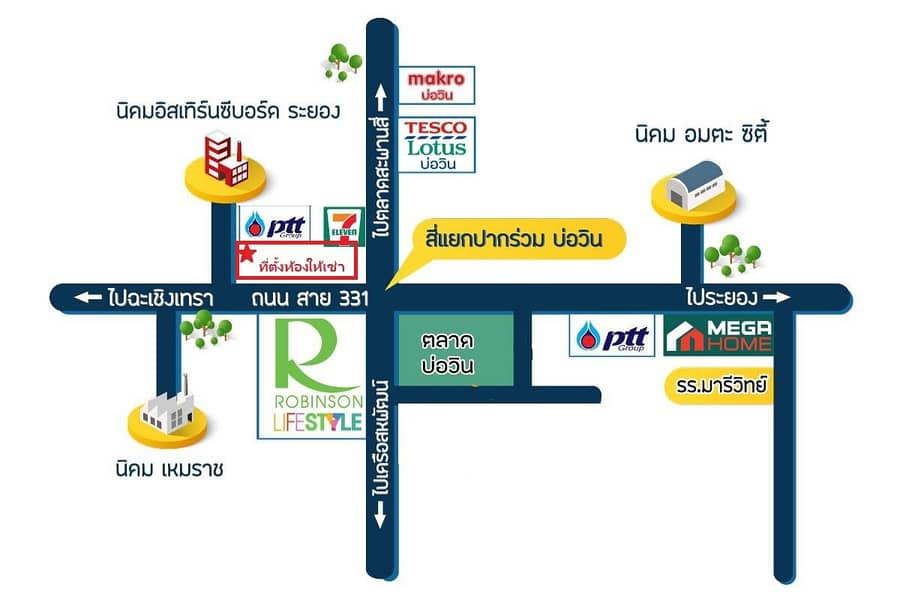 The best location for Office rental 70 sqm near all Major Industrial Estate and Robinson Lifestyle Bowin