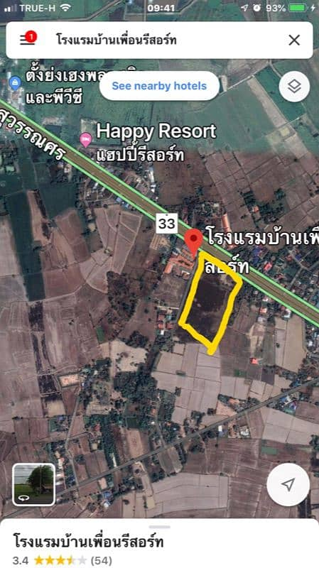 Land for sale 19 rai and a half next to Suwannason Road, width 100 meters