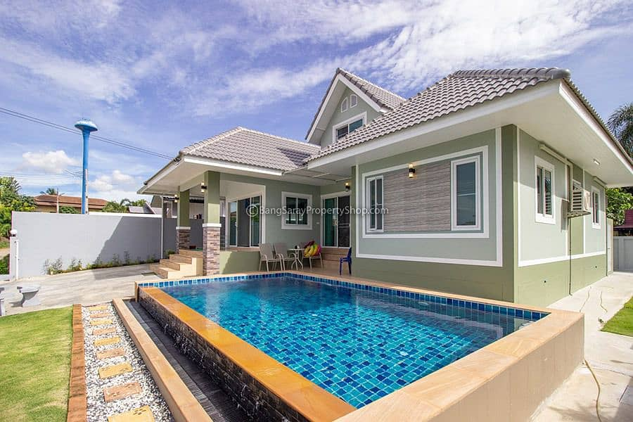 House for rent with private pool Bang Saray, new house