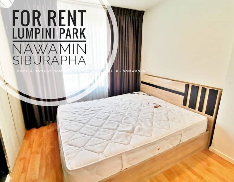 (For Rent) Lumpini Park Nawamin - Sri Burapha Room 26 sqm. C2 building, high floor, fully furnished, 2 air conditioners