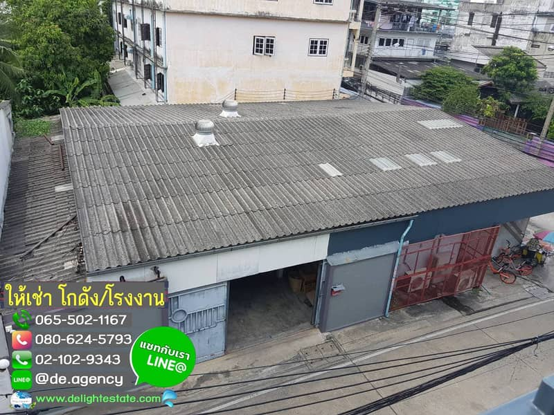 DE78 Warehouse for rent, 340 sq m. With office, good location, Khae Rai district, Ministry of Public Health.