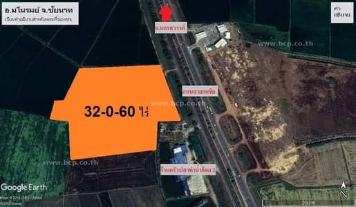 Land for Sale in Manorom, Chainat - Land for sale on Phaholyothin Road, Tha Phaengmanom, Chainat Province.