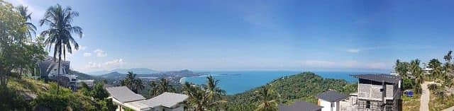 Land for sale in Koh Samui, 1 rai on the hill with a road through the sea view