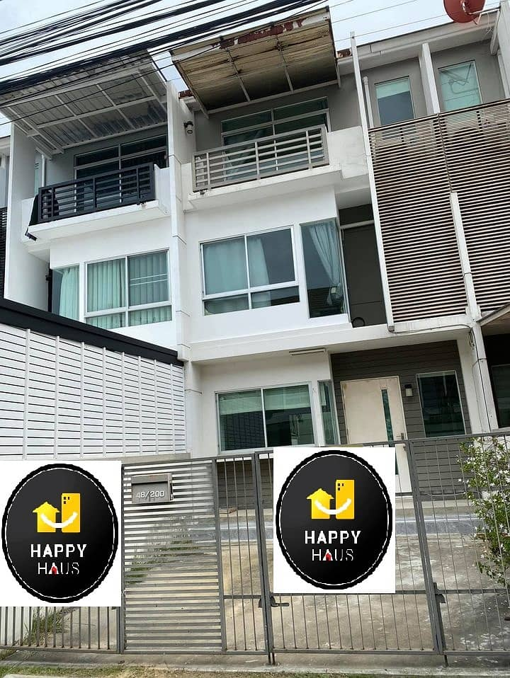 H500-Townhome for rent, 3 floors,Baan Mai Rama 9 – Srinakarin  convenient to travel. Fully furnished, ready to move in