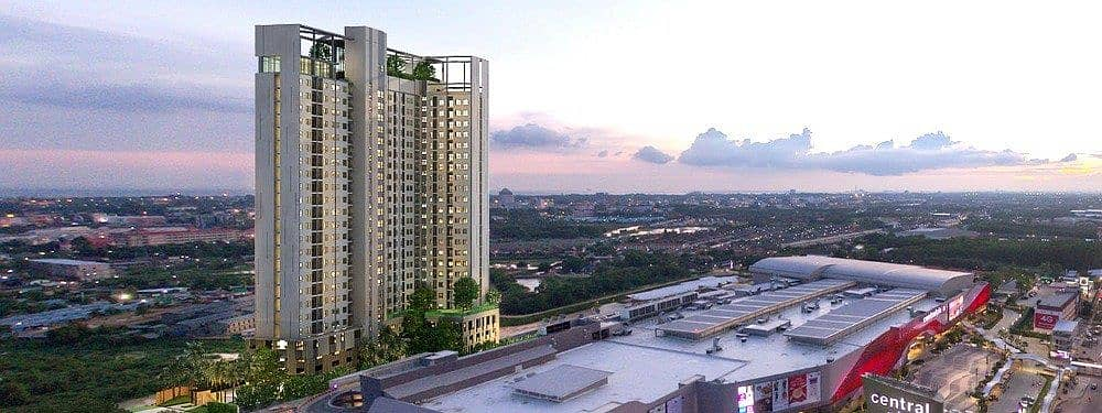 Escent Rayong for rent, 9th floor, corner room, central view, size 36 sqm. , Ready to move in, rent 9000 baht per month