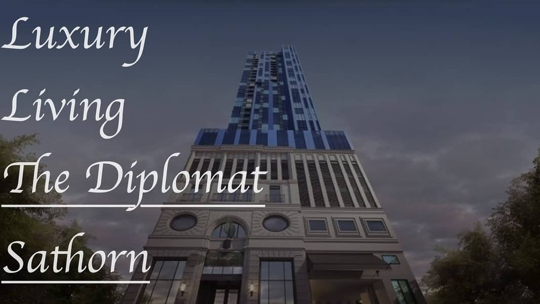 For rent : Luxury condo, The Diplomat Sathorn, 2 bedrooms, 2 bathrooms, 1 living room 77.7 sq m