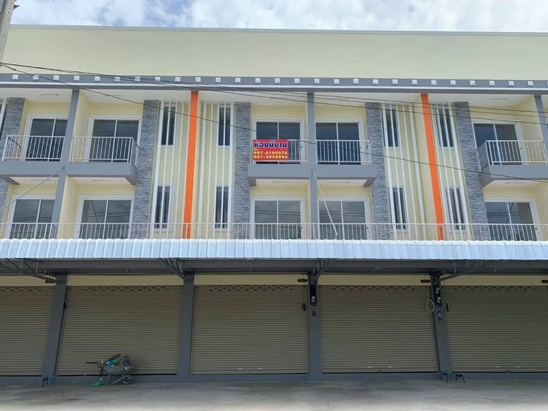 3-storey commercial building for sale, new construction on the main road, near Big C, Lotus, Ang Thong