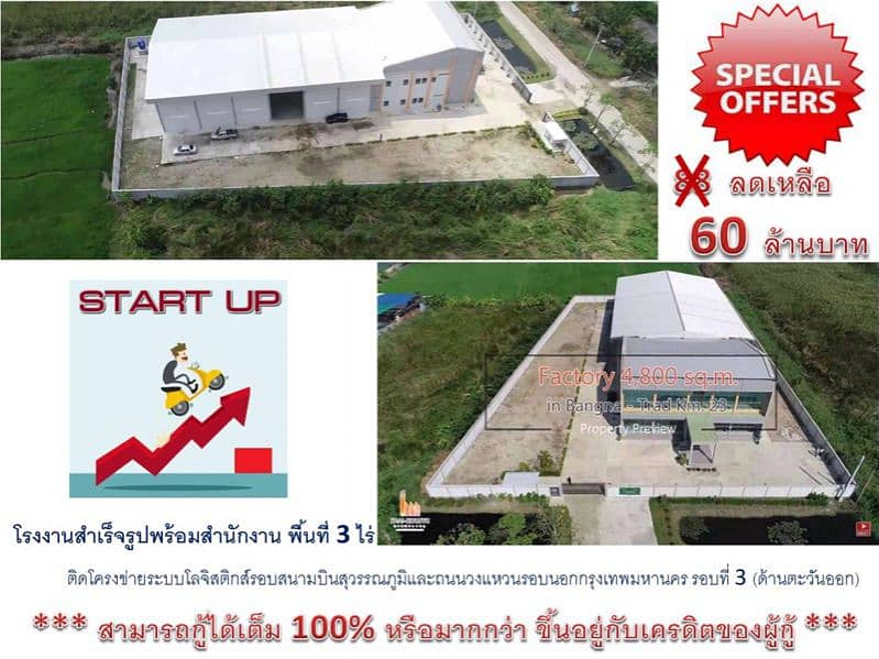 Factory for sale with an office area of 3 rai, attached to the logistics system