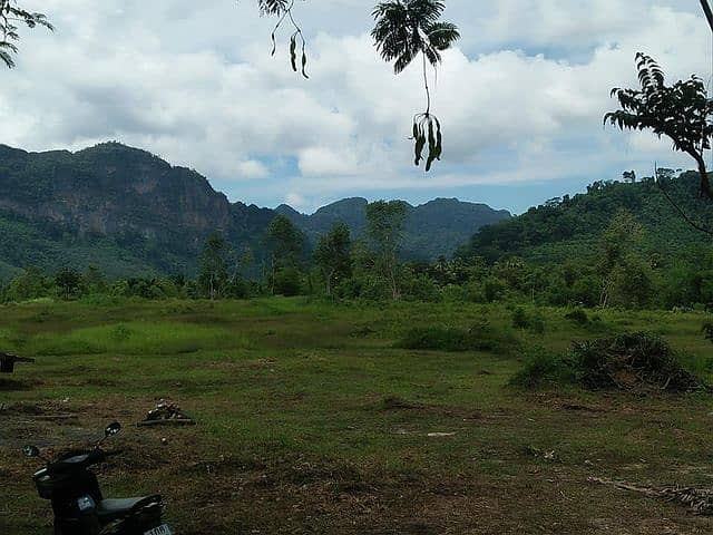 Land for sale in a beautiful plot of land next to a stream Mountain view surrounding Phang Nga District, suitable for a resort