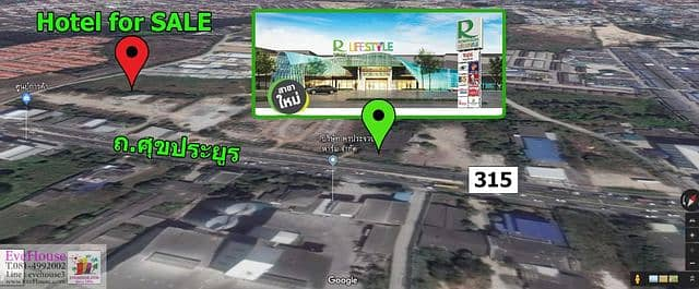 Hotel for sale next to the new Robinson Department Store, Suk Prayoon Road, near Amata Nakorn Industrial Estate, Chonburi, up to the motorway. Group Thep - Pattaya