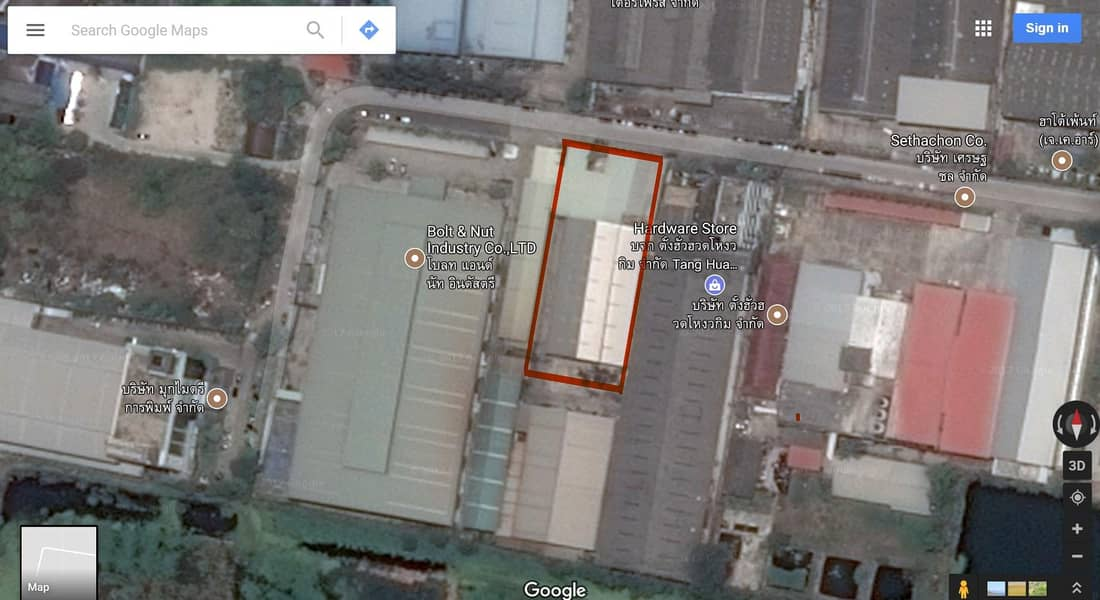 Warehouse for rent with office, area used in Soi 2000 sq m. With 3 cranes, Bang Phli, Soi Wat Luang Pho To