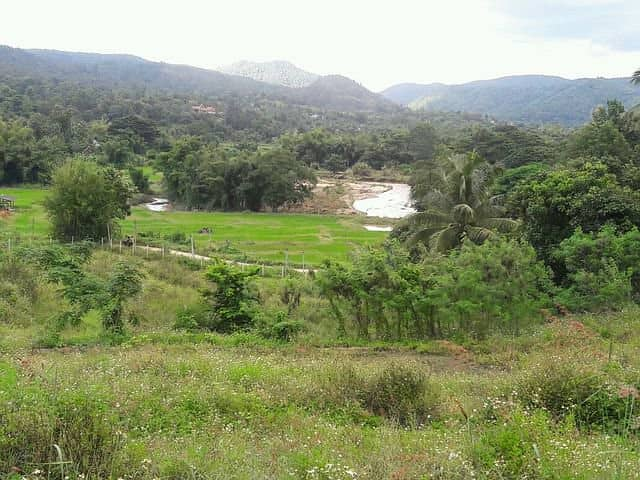 High hill land, beautiful view all around at Chom Thong