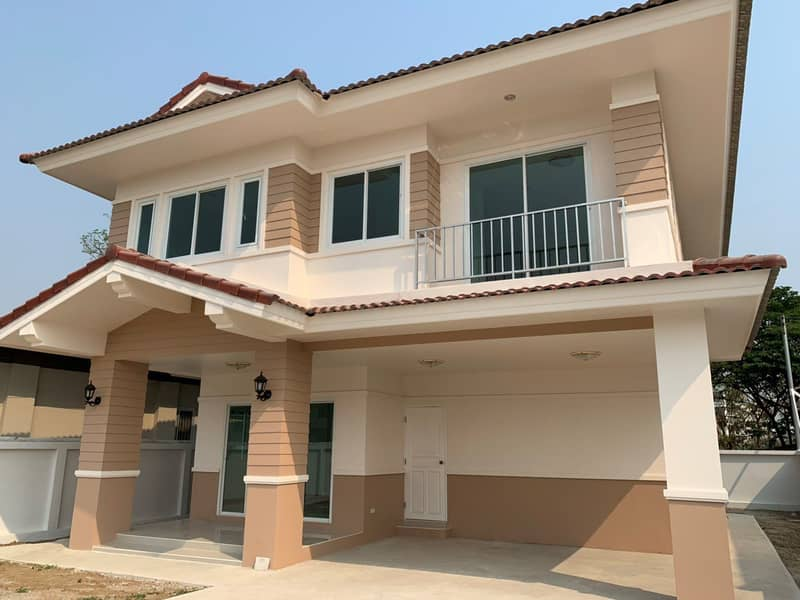 New single-family house, ready to move in, Suksuk Ville project, 3 bedrooms, 3 bathrooms, 2 parking spaces, Muang District, Ang Thong Province.